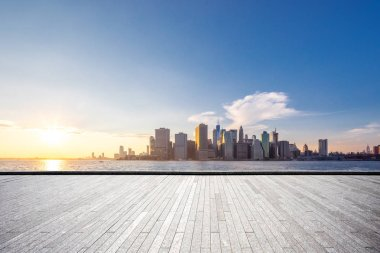 Empty floor with modern cityscape in New York stock vector