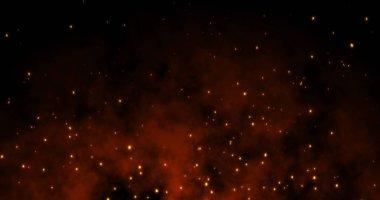 Sparks fly on a black background: 3d illustration