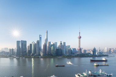 shanghai pudong skyline in morning, view from north bund