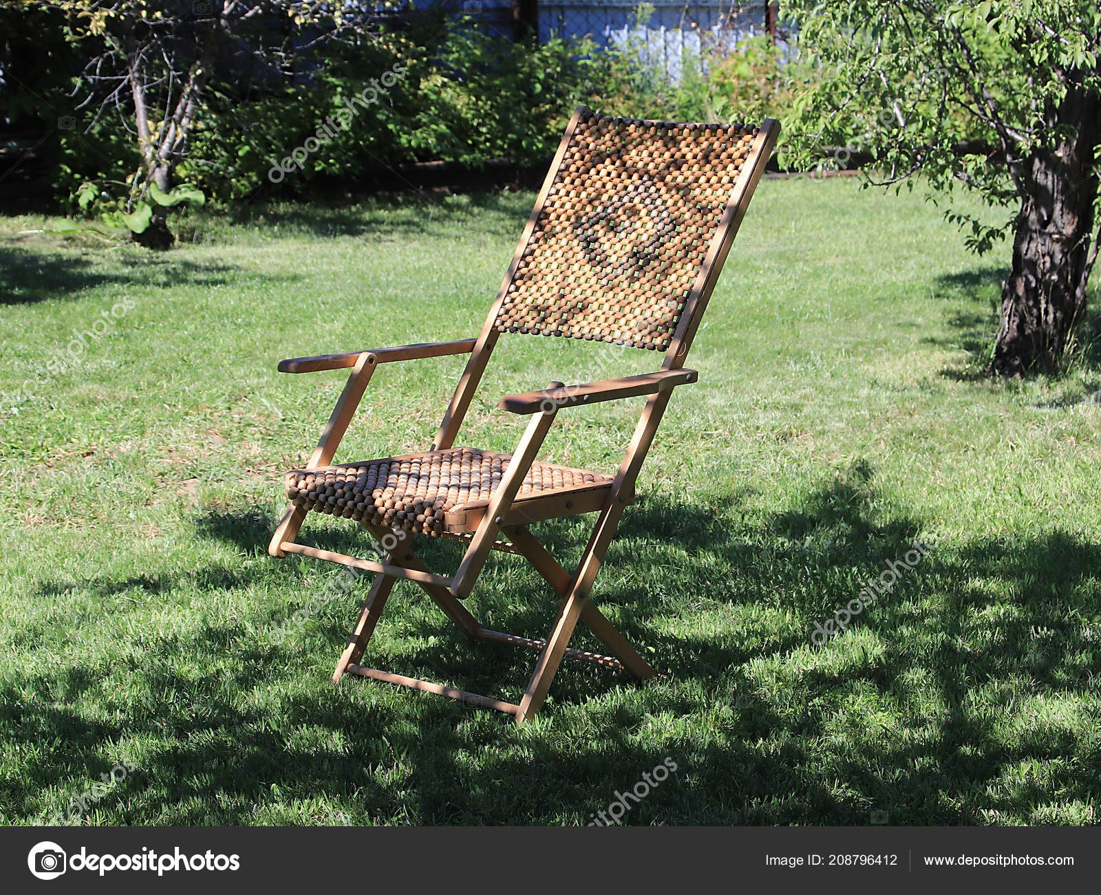 Wooden Chaise Longue Relaxing Stays Green Grass Lawn Stock Photo