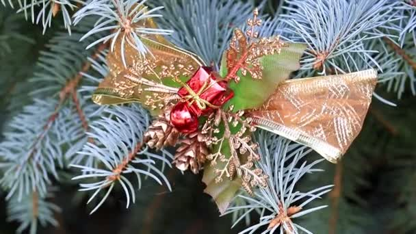 Christmas ornaments on a festive pine on the eve of an event