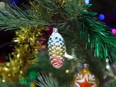 Christmas pine festively decorated with glass toys