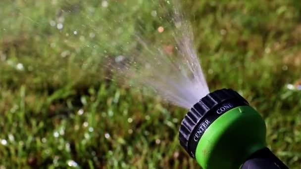 ein Wasserstrahl durch eine Kunststoffspritze beim Rasengießen