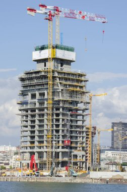 BELGRADE, SERBIA - JULY 27, 2020: BELGRADE TOWER, the new building in the new Belgrade neighborhood Belgrade Waterfront under construction.The building will be 168 meters high and is being built by Eagle Hill company.