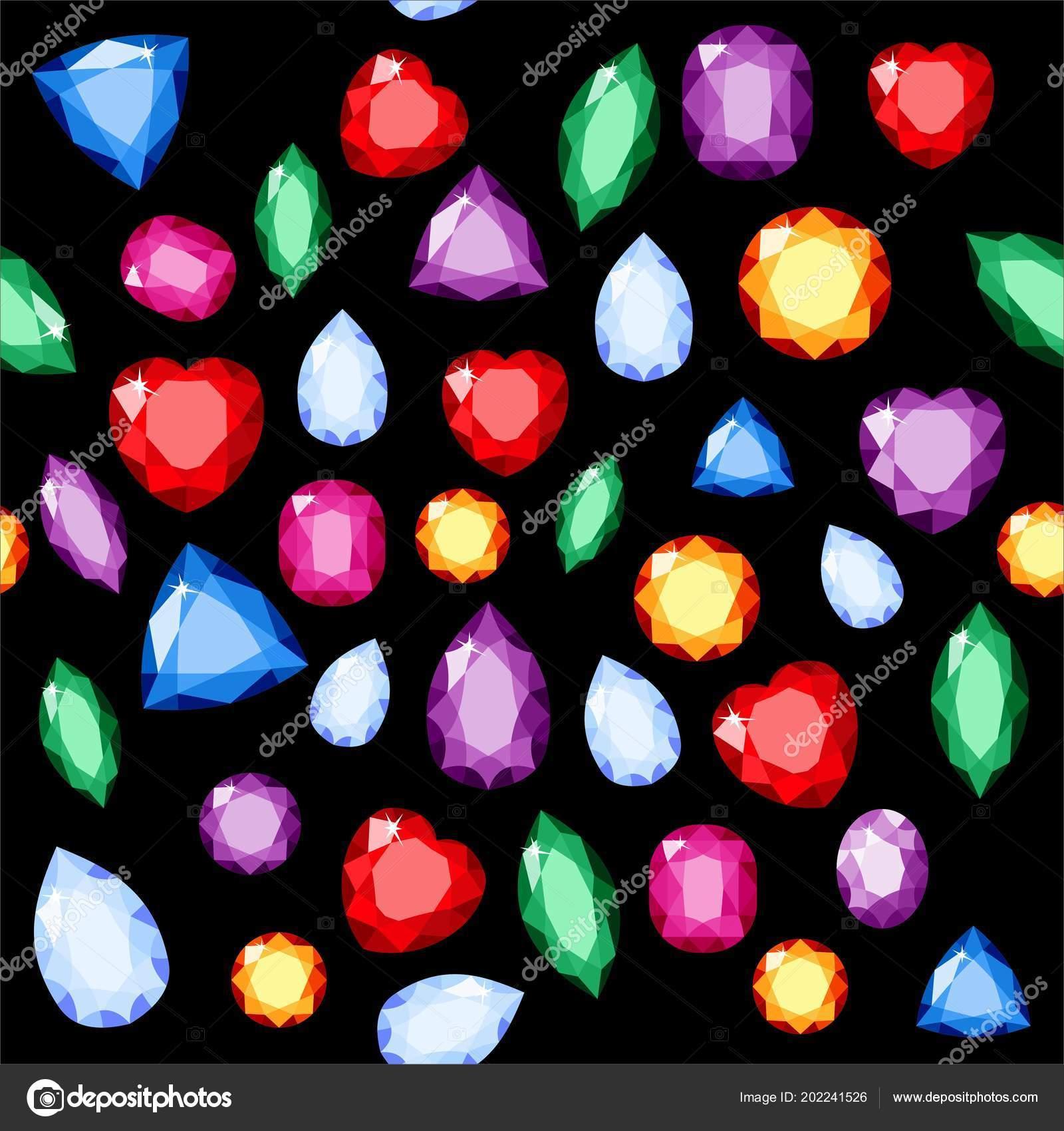 059630f86e33 Conjunto de joyas realistas. Piedras preciosas coloridas. Vector ...