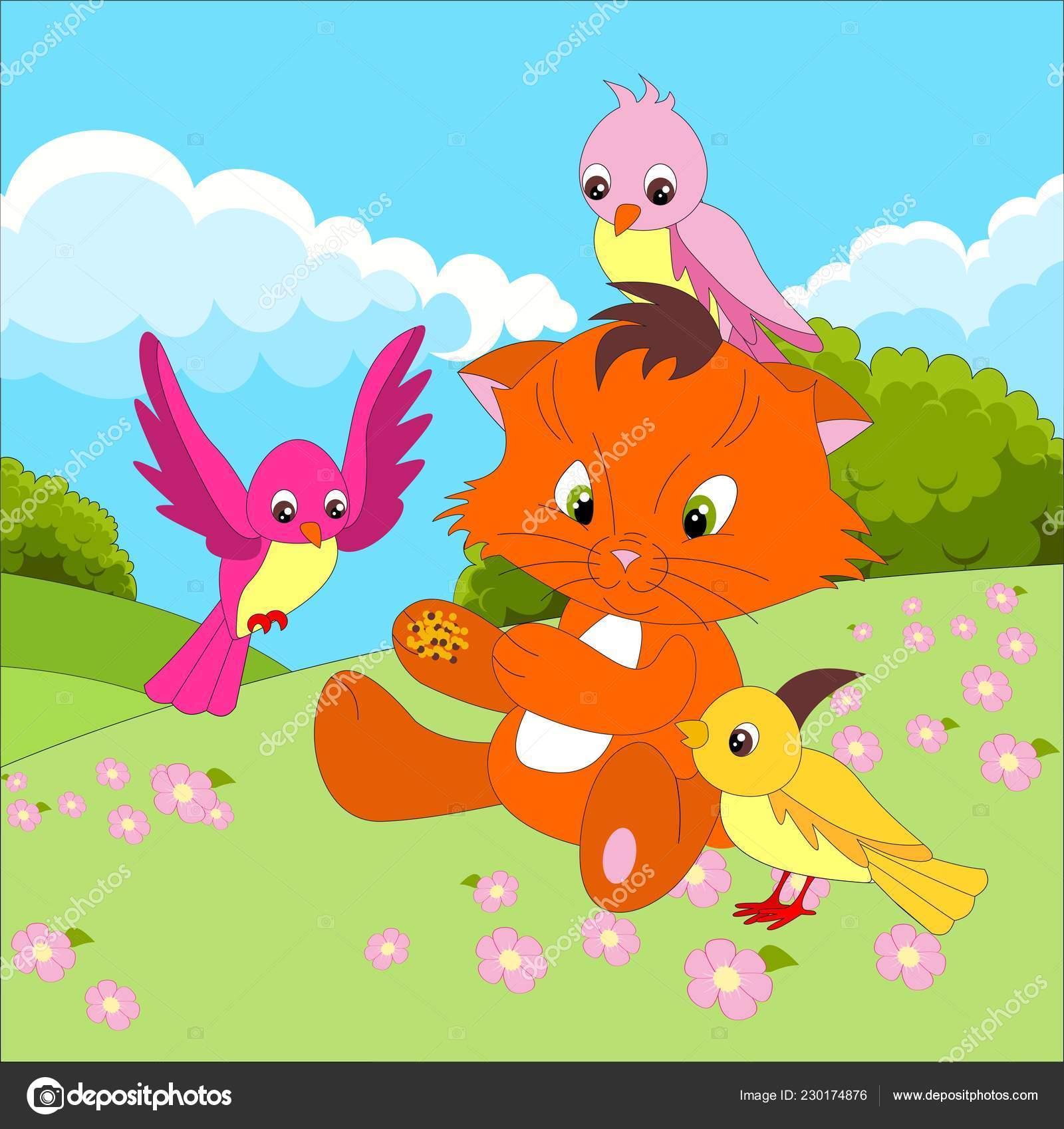 Personaggio dei cartoni animati gatto sveglio con uccelli che