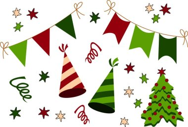 Birthday, Christmas and New Year Party Stuff icon Collection. Raster Set