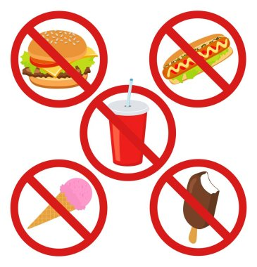 Set prohibited signs. Supermarket symbols. No Junk Food, Stop Unhealthy. No ice cream, hot dog, burger or drink isolated on white background. Concept of Sugar control