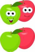 Fotografia Insieme delle mele con la foglia. Personaggio simpatico e divertente mela rossa e verde, mascotte, elemento di decorazione, fumetto illustrazione Raster isolato su priorità bassa bianca. Concetto di assistenza sanitaria