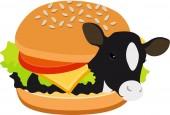 Fotografia Hamburger di mucca di hamburger di manzo. Mucca allinterno di un hamburger. Concetto del vegetarismo, veganismo. Illustrazione di raster isolato su priorità bassa bianca