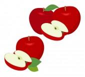 Fotografia Mela rossa di frutta con la mela metà e foglia di apple isolato su priorità bassa bianca. Mele e foglie con set illustrazione Raster