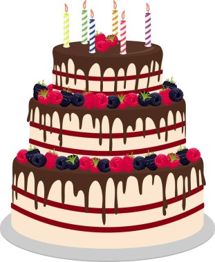 Three-tiered wedding or birthday cake in chocolate, decorated with paspberries and blueberries on a white background. Raster illustration for a menu or a confectionery catalog.