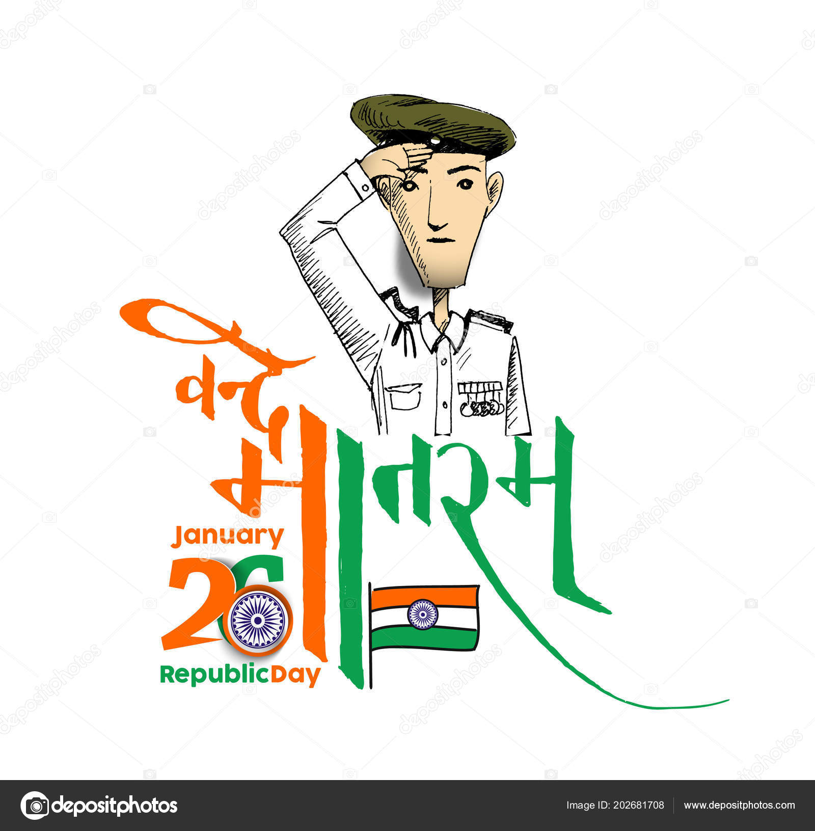 Indian Republic Day Concept Text January Hindi Typography Vande
