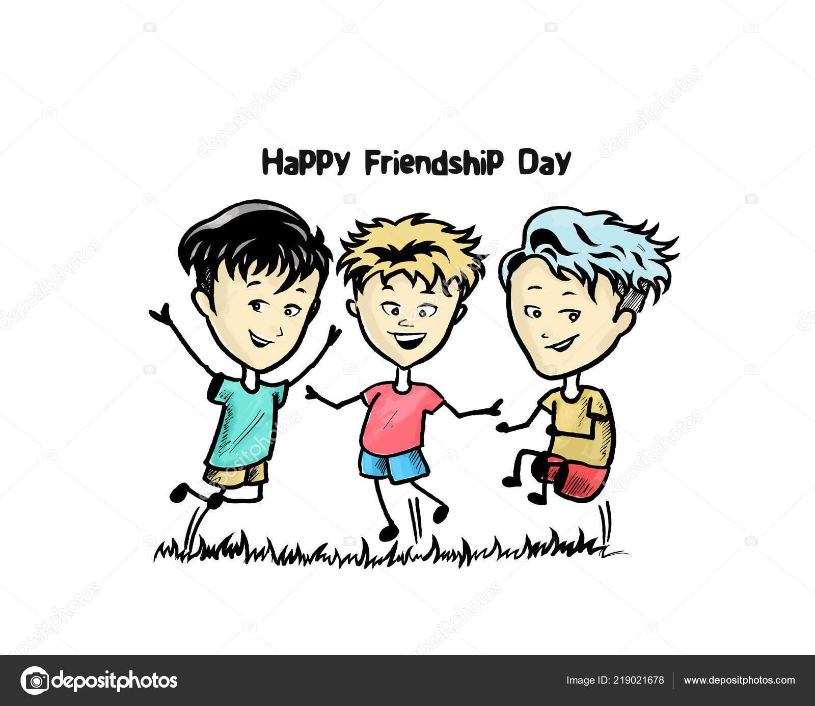 Grupo Amigos Felices Disfrutando Día Amistad Dibujos Animados Mano