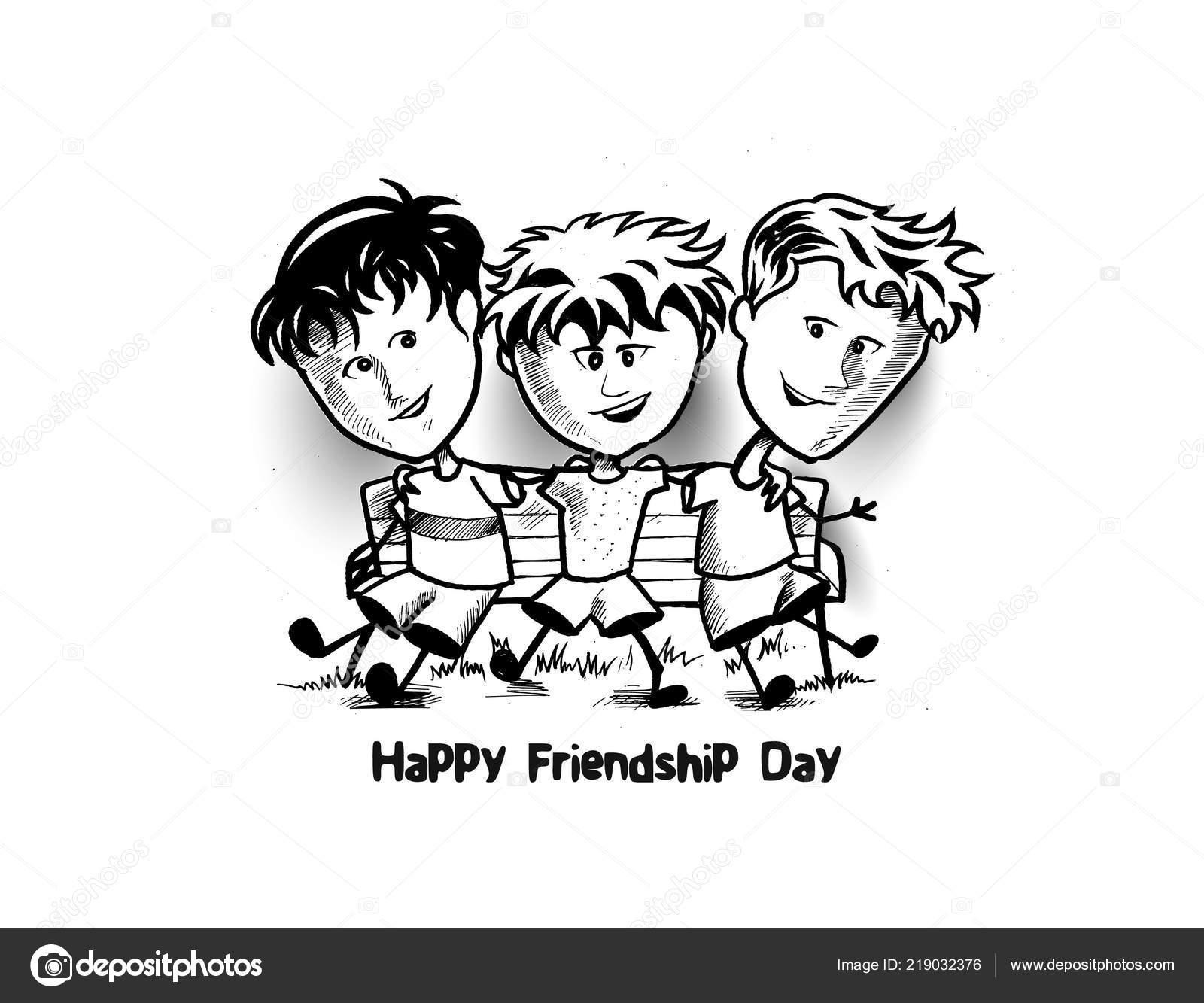 Amitié Dessin groupe amis heureux appréciant journée amitié dessin animé hand