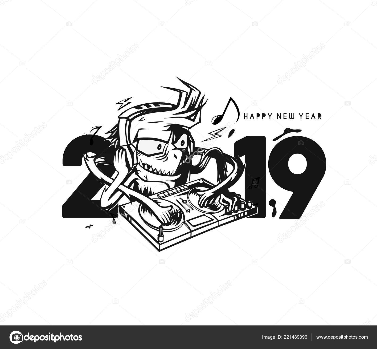 Happy New Year 2019 Text Monster Play Vector Illustration Stock