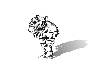 Powerful strong lion animal sports mascot, vector illustration.