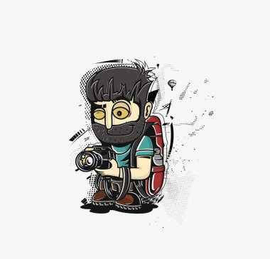 Cartoon vector illustration of a Photographer or reporter profession concept.