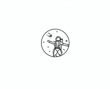 Astronaut in spacesuit, Flat Line Art Design illustration.