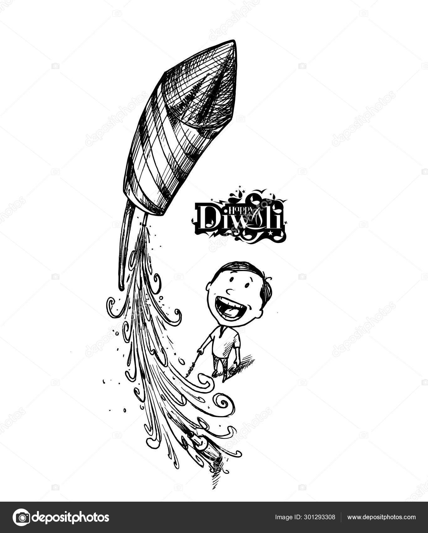 Boy flying rocket indian festival diwali celebration