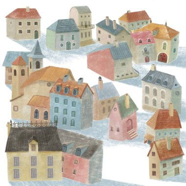 Hand-drawn illustration of the small village with 3d perspective houses and church.
