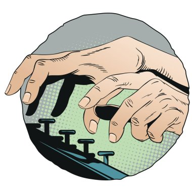 Stock illustration. Hands typing on typewriter.