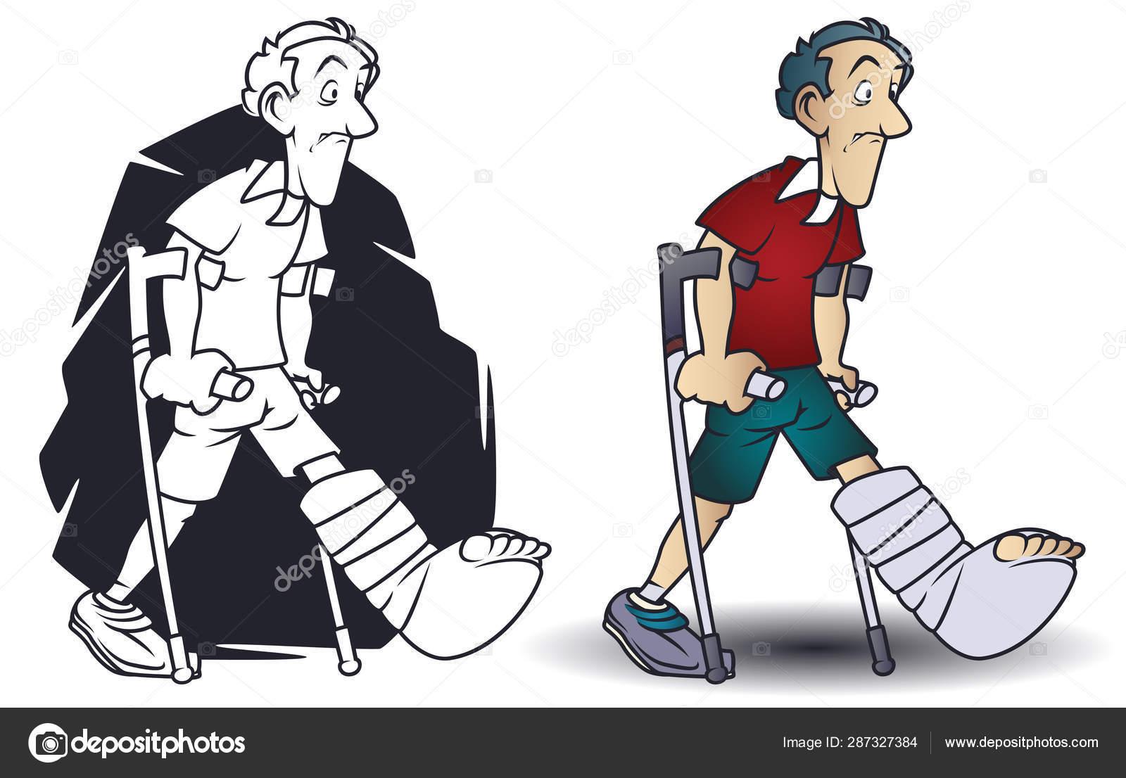 ᐈ Funny Cartoons Royalty Free Crutch Cartoon Funny Pics Download On Depositphotos