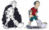 Funny little men. Man on crutches. Leg in cast.