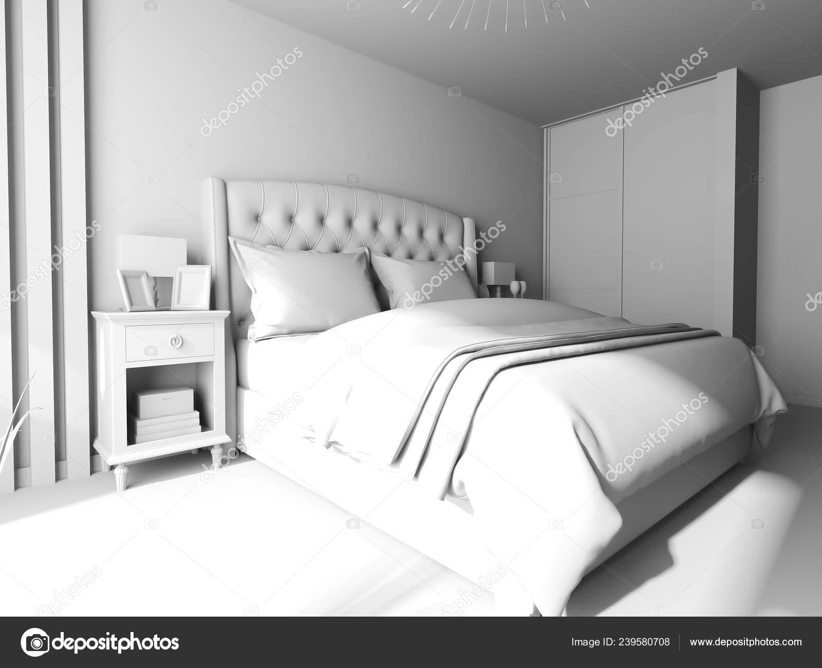 Camera Letto Stile Contemporaneo Rappresentazione — Foto Stock ...