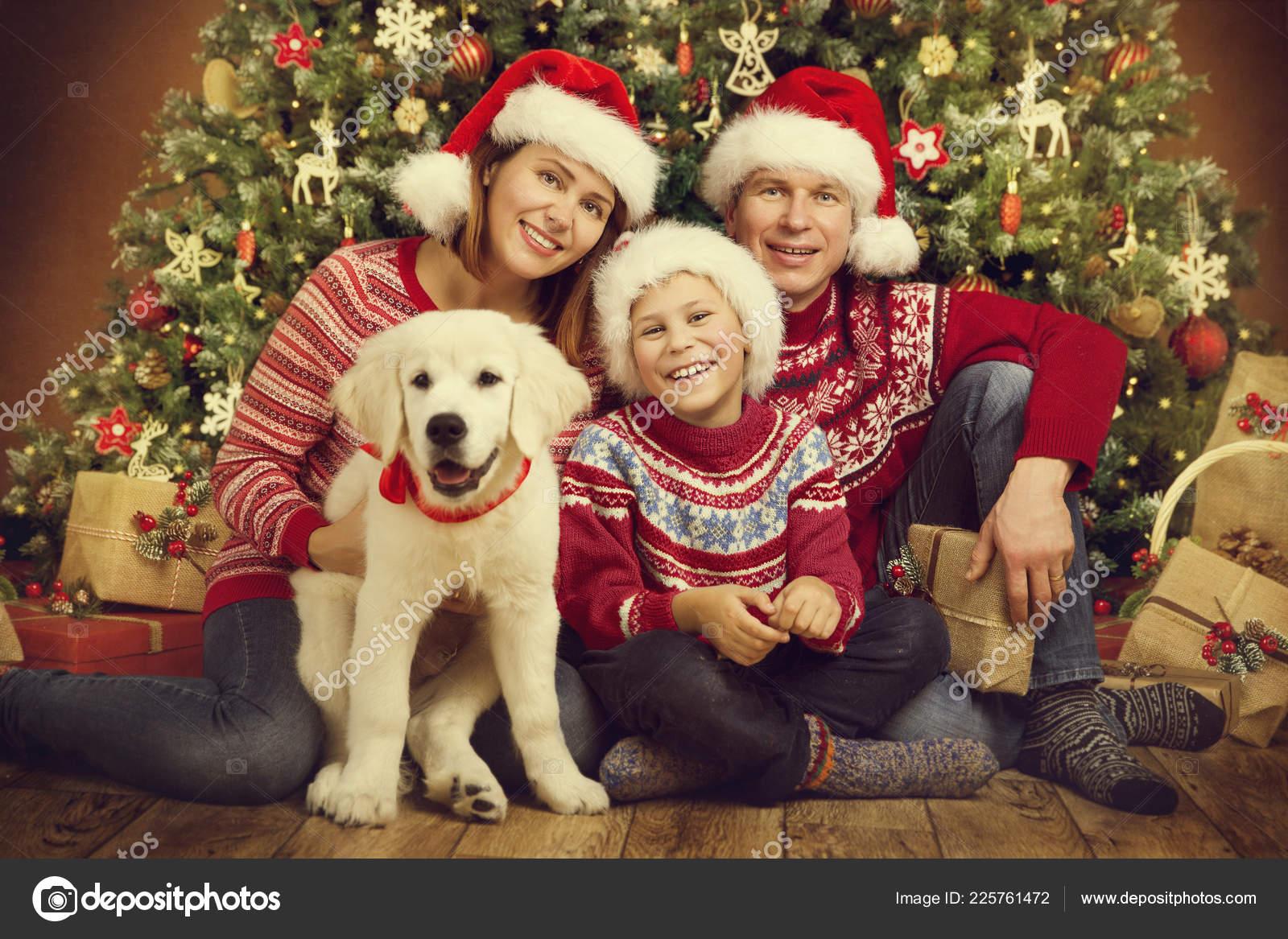 Christmas Family Dog Xmas Tree Happy Mother Father Child