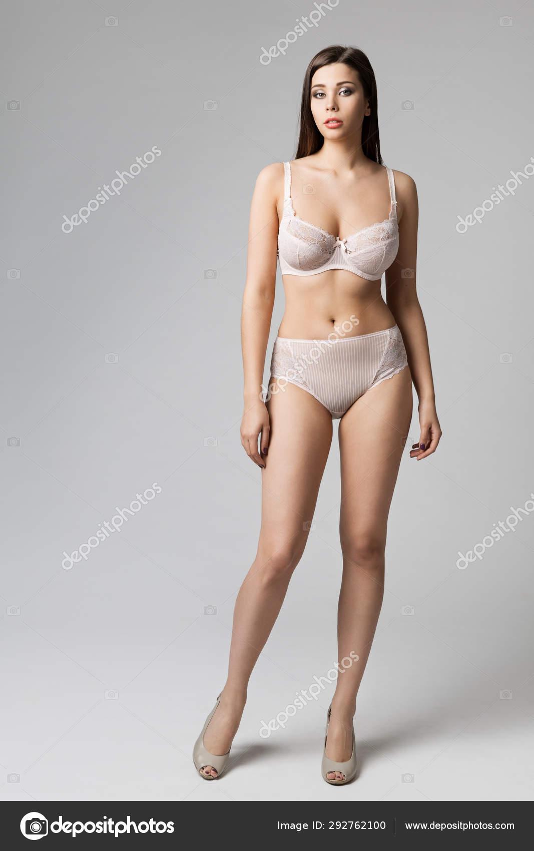 Fashion Model Sexy Underwear Woman Bra Panties Full Length Portrait On White Stock Photo Image By C Inarik 292762100
