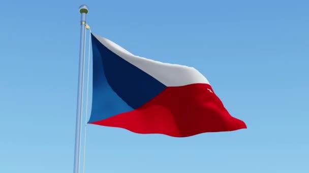 Červená, modrá a bílá vlajka České republiky. Státní vlajka na stožáru před modrou oblohu. Trojrozměrné vykreslování 3d animace