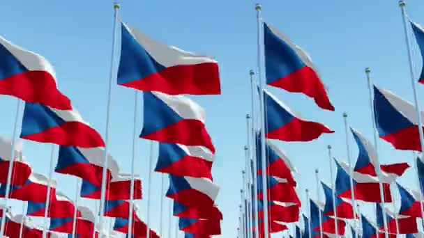Many flags of Czech Republic on flagpole against blue sky. Three dimensional rendering 3D animation.