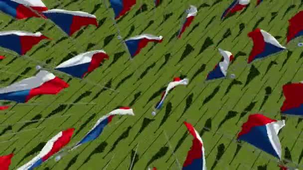 Mnoho vlajky České republiky pohled v zeleném poli ve slunečný den. Trojrozměrné vykreslování 3d animace