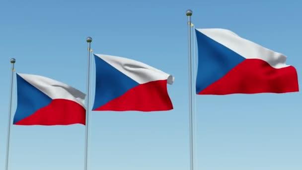 Tři vlajky České republiky na stožár proti modré obloze. Trojrozměrné vykreslování 3d animace