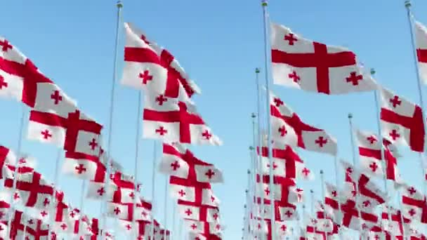 Many flags of Georgia against blue sky. Three dimensional rendering animation 3D.