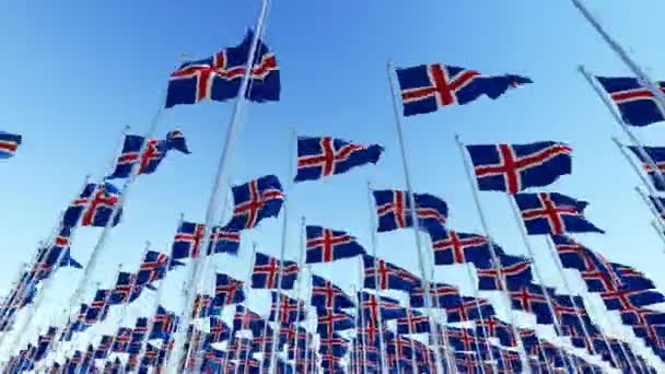 Many flags of Iceland blowing in the wind against clear blue sky. Three dimensional rendering animation.