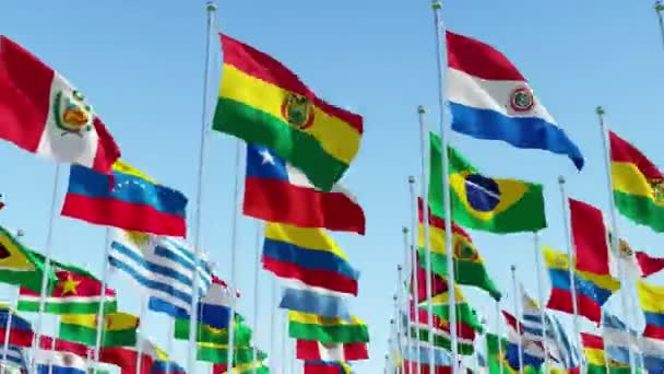 South America Continent Flags blowing in the wind, 3d rendering animation