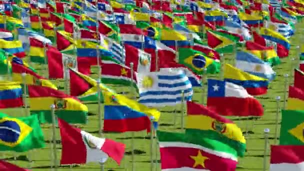 Many flags of the countries of the South American continent in green field, 3d rendering animation