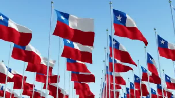 Many flags of Chile fluttering in the wind on flag poles in a row against blue sky. Three dimensional rendering animation.