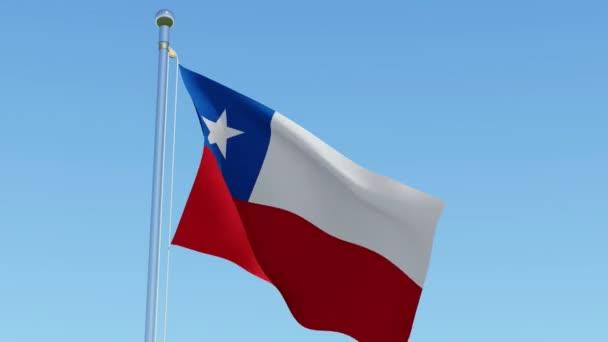 flag chile waving wind blue sky three dimensional rendering