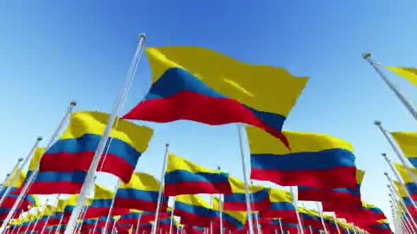 Many Columbia Flags blowing in the wind against blue sky in sunny day. Three dimensional rendering animation.