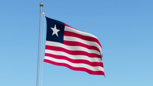 3d flag of Liberia waving in the wind against blue sky  Three dimensional  rendering animation