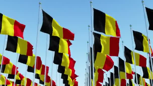 Many flags of Belgium waving in the wind on flag poles in a rows against blue sky.  Three dimensional rendering animation.