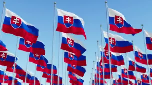 Many flags of Slovakia against blue sky. Three dimensional rendering 3D animation.