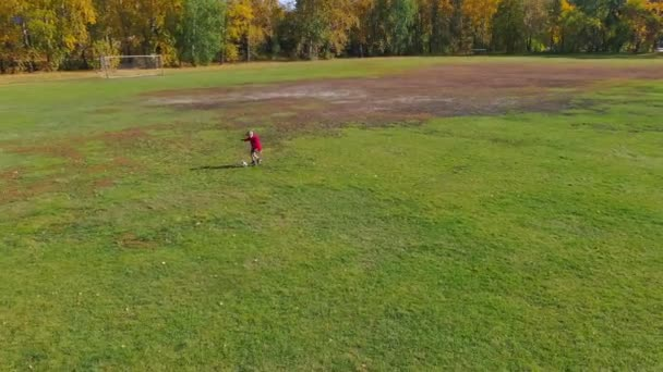 Chlapec kopající fotbalový míč na fotbalovém hřišti za slunečného podzimního dne, kluk běžící po míči na fotbalovém stadionu. Letecký pohled Ball.