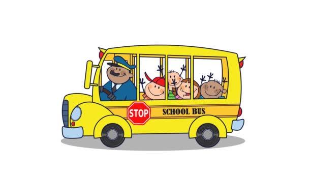 School Bus With Happy Children Go To School