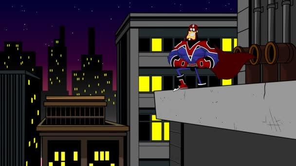 Superhelden-Cartoon-Figur steht auf nächtlichem Stadthintergrund