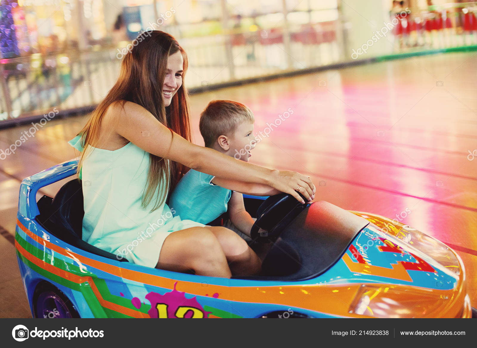 Family Mother Little Boy Driving Car Arcade Game Machine Amusement