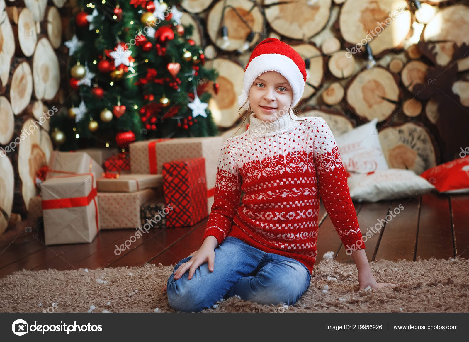 d05672973 Boy Christmas Hats Lying Laughing Rug New Year Tree Background ...